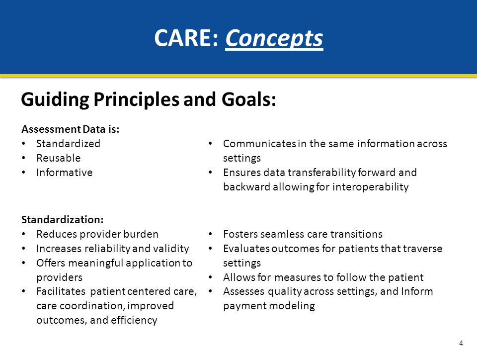 CARE: Concepts Guiding Principles and Goals: Assessment Data is: