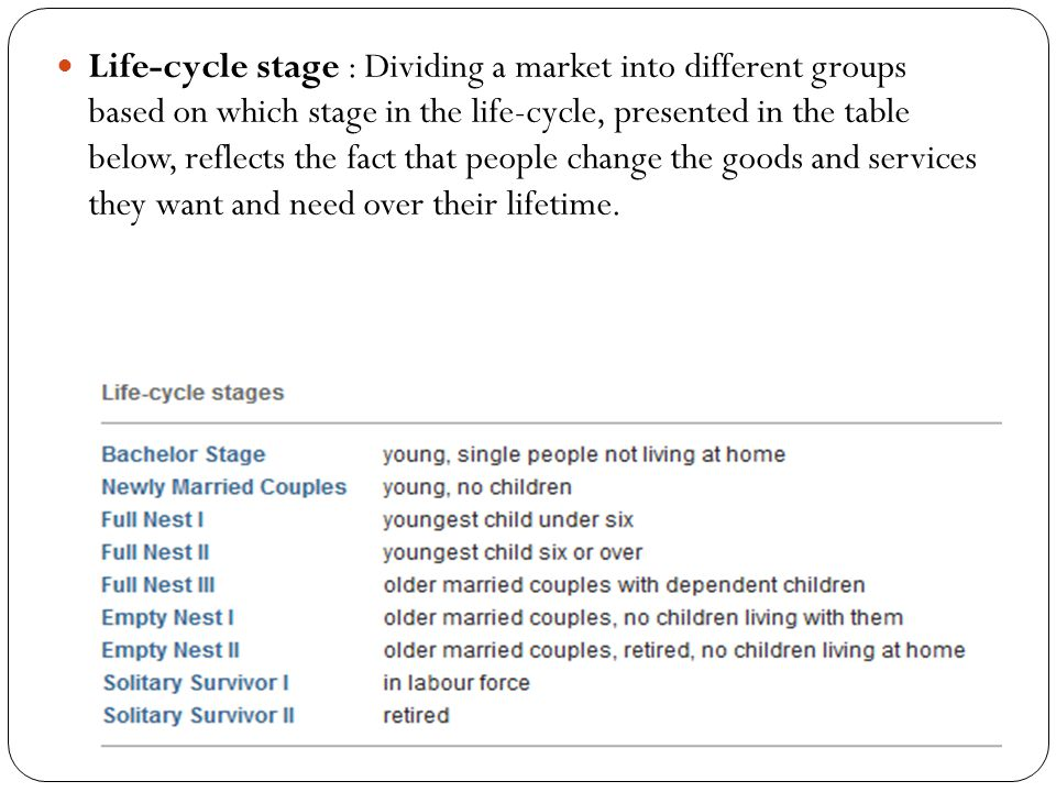 Life-cycle stage : Dividing a market into different groups based on which stage in the life-cycle, presented in the table below, reflects the fact that people change the goods and services they want and need over their lifetime.