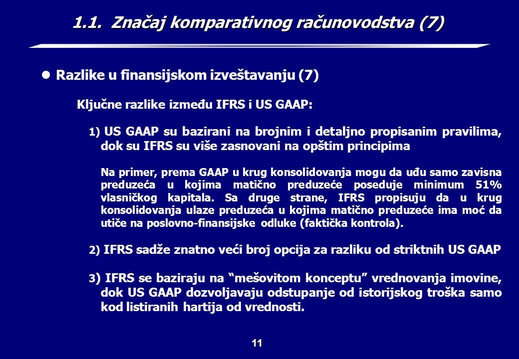 1.1. Značaj komparativnog računovodstva (8)