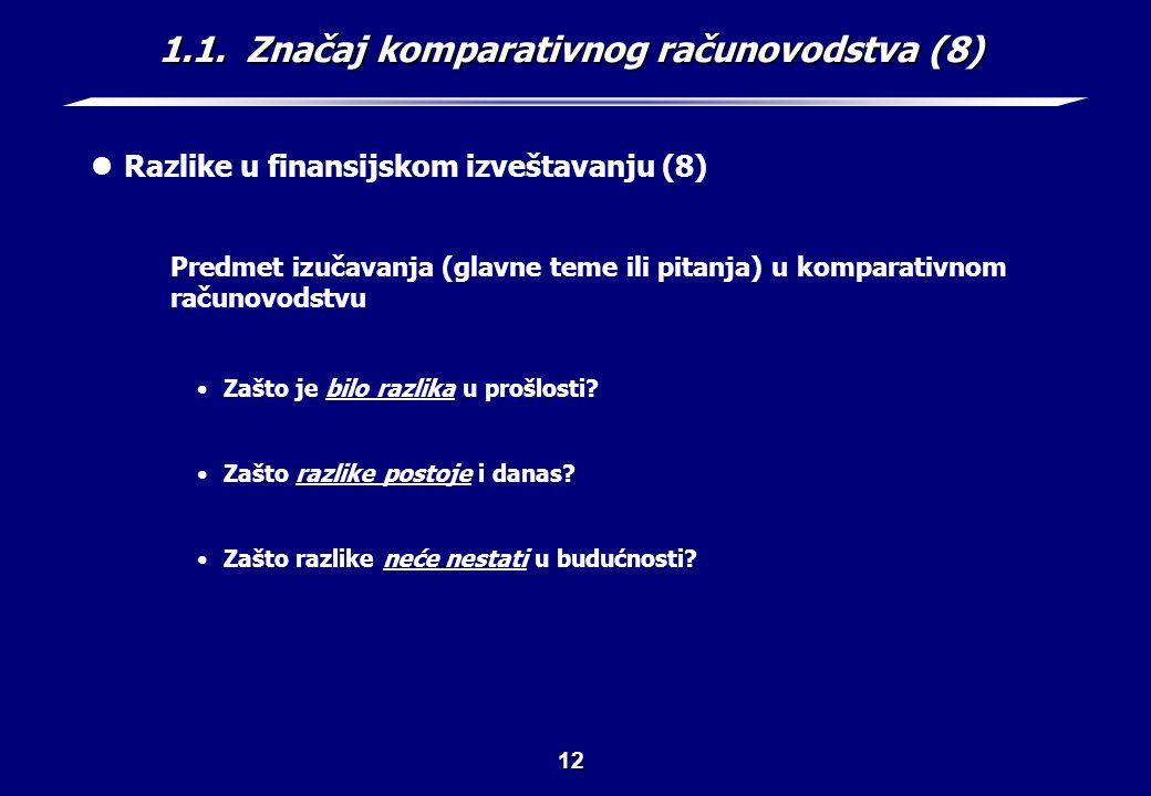 1.1. Značaj komparativnog računovodstva (9)