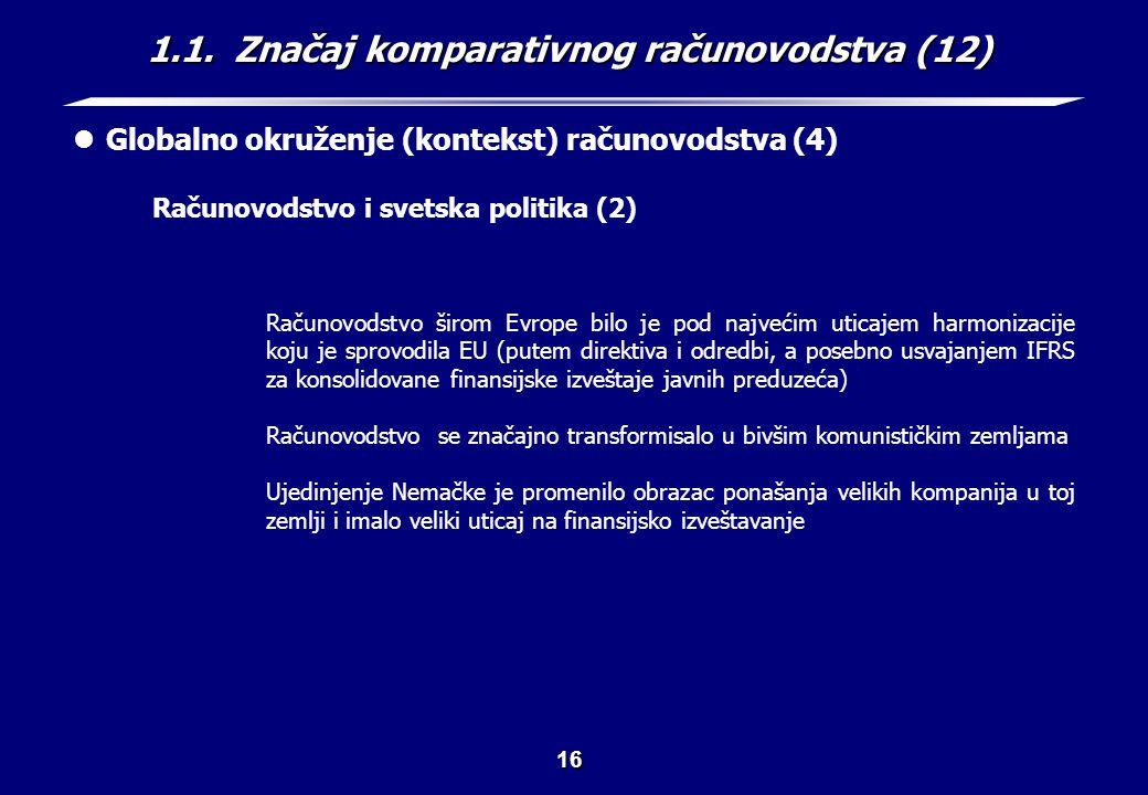 1.1. Značaj komparativnog računovodstva (13)