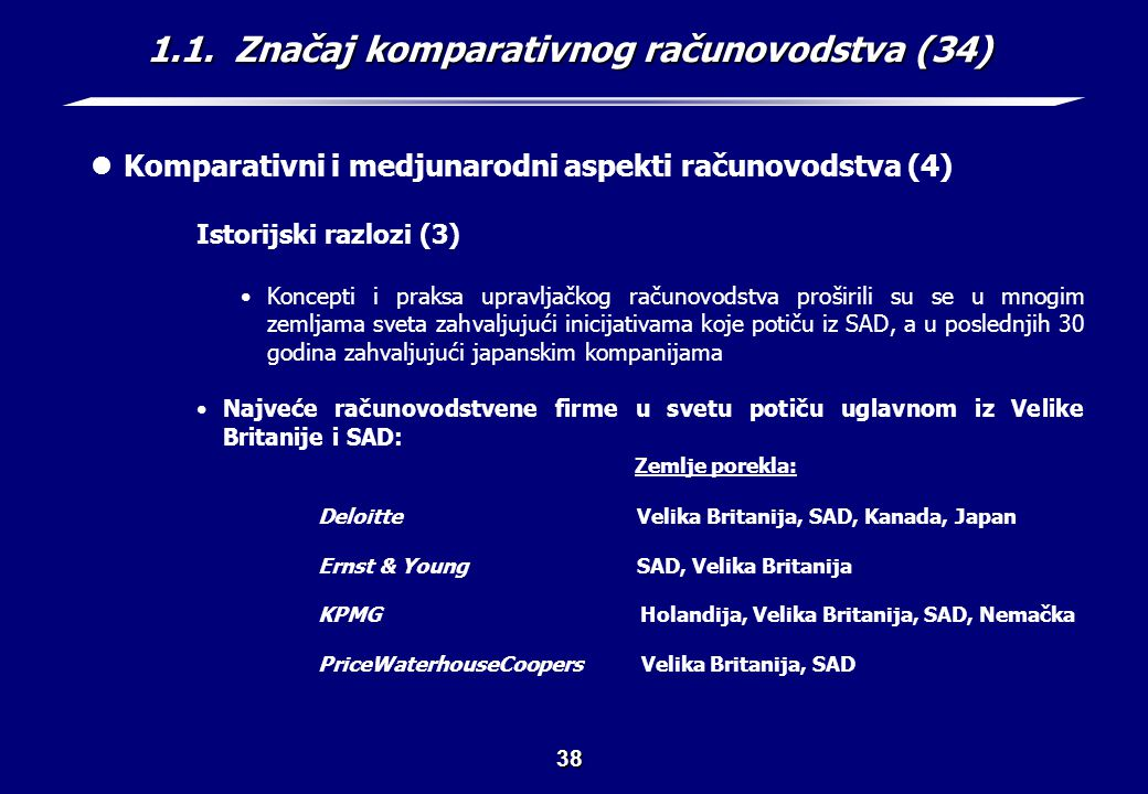 1.1. Značaj komparativnog računovodstva (35)