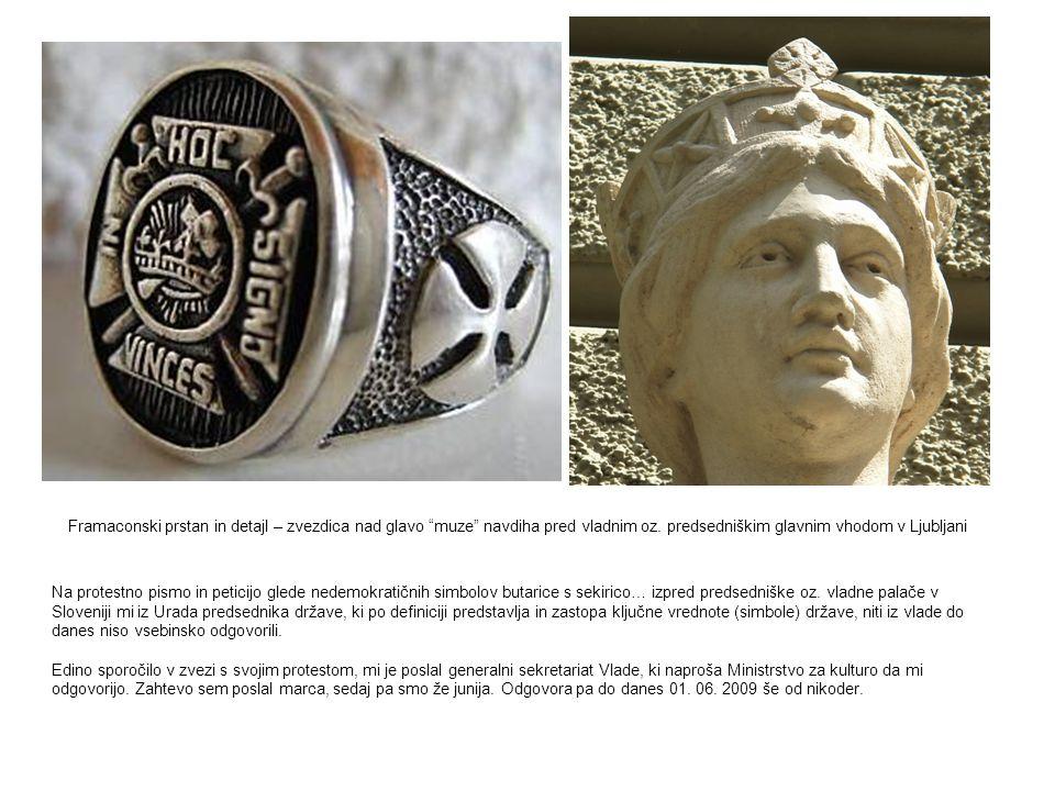 Framaconski prstan in detajl – zvezdica nad glavo muze navdiha pred vladnim oz. predsedniškim glavnim vhodom v Ljubljani