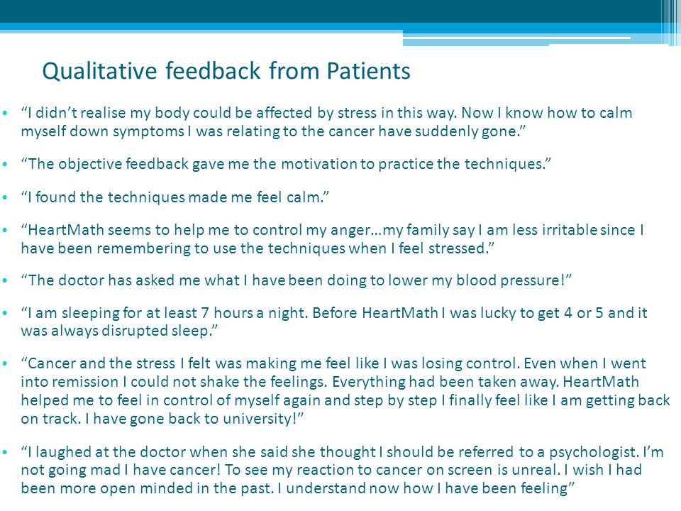 Qualitative feedback from Patients