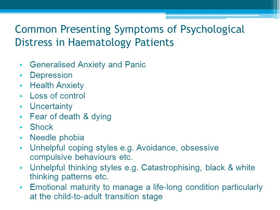Common Presenting Symptoms of Psychological Distress in Haematology Patients