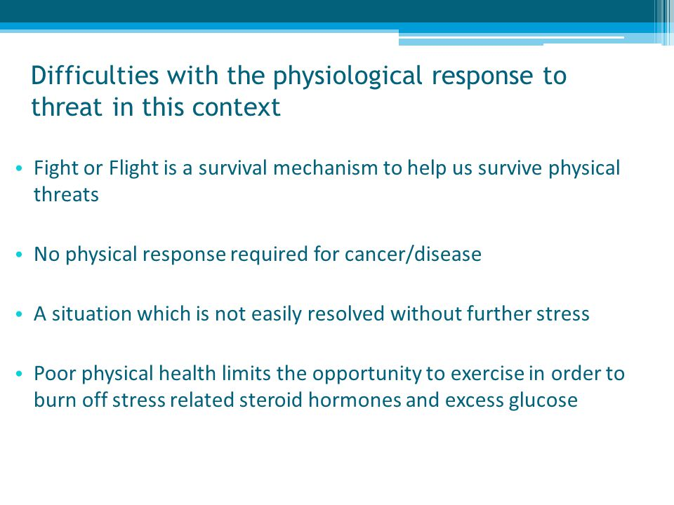 Difficulties with the physiological response to threat in this context