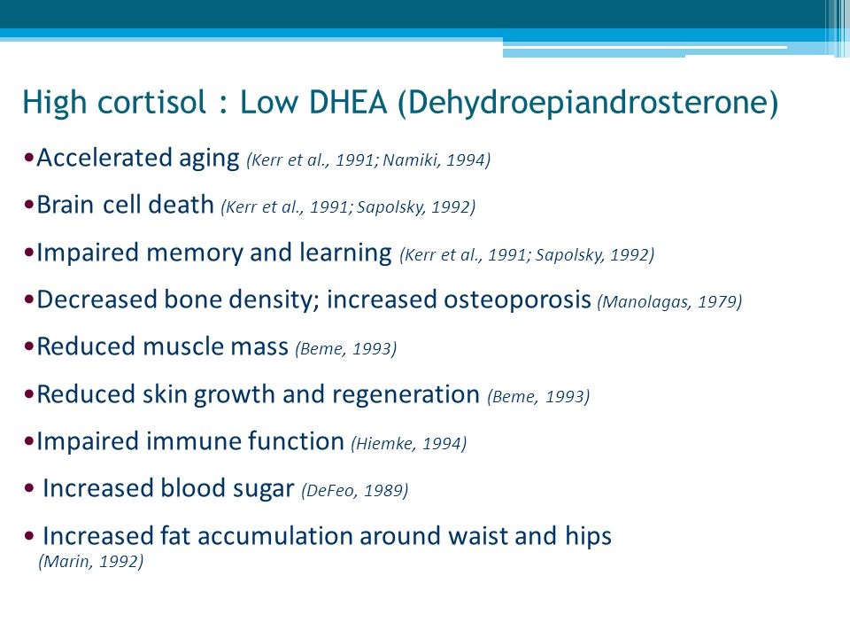 High cortisol : Low DHEA (Dehydroepiandrosterone)
