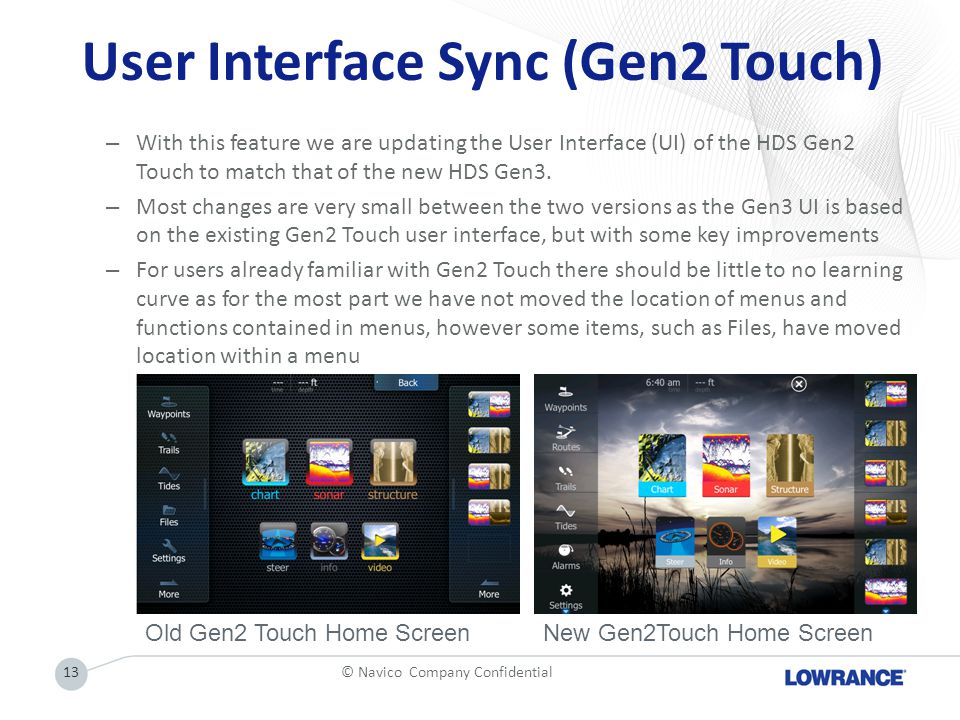 User Interface Sync (Gen2 Touch)