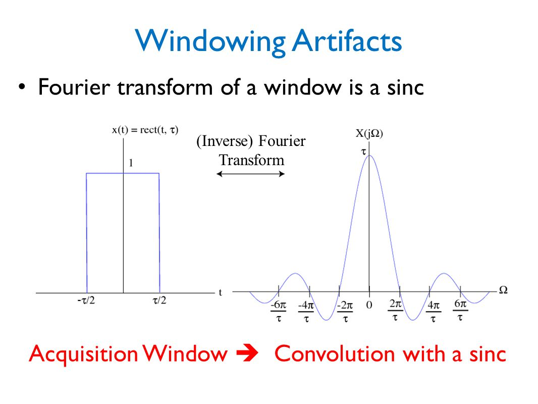 Windowing Artifacts Fourier transform of a window is a sinc
