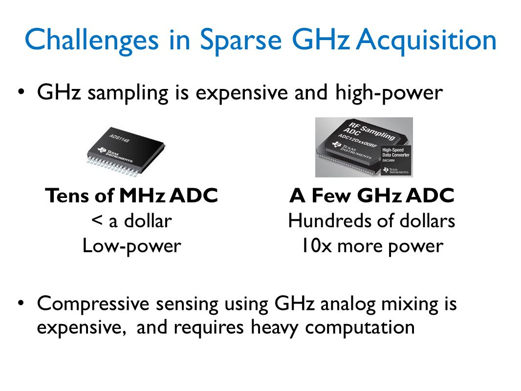 Challenges in Sparse GHz Acquisition
