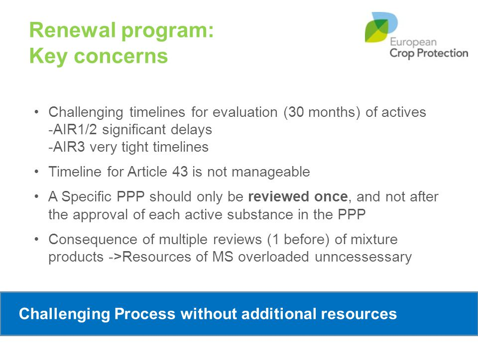 Renewal program: Key concerns