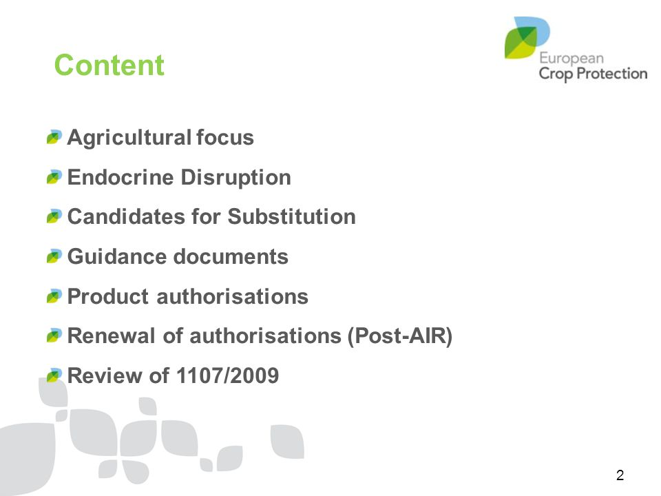 Content Agricultural focus Endocrine Disruption