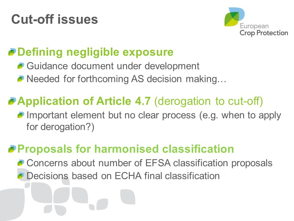 Cut-off issues Defining negligible exposure