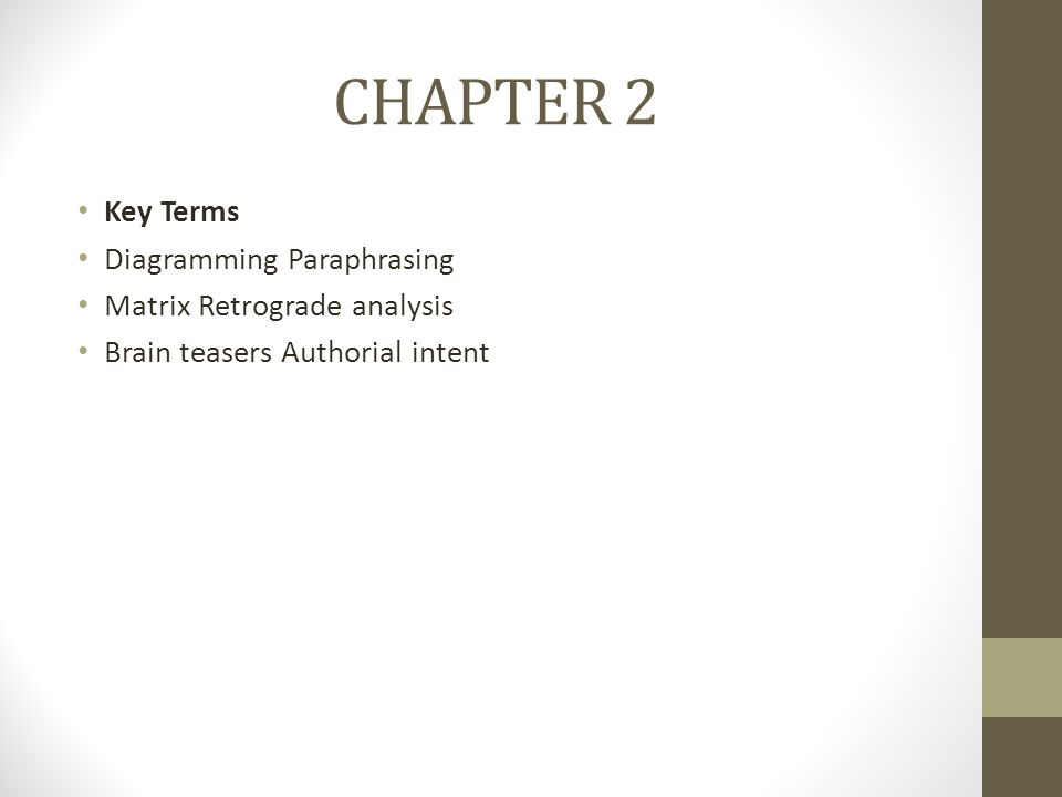 CHAPTER 2 Key Terms Diagramming Paraphrasing