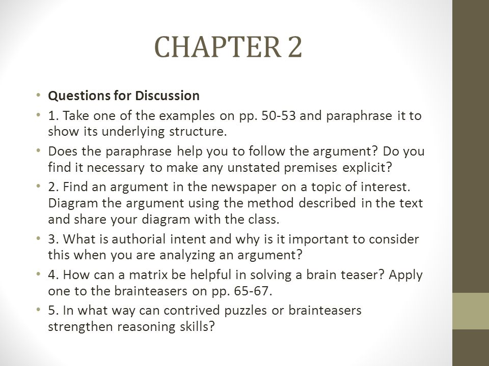 CHAPTER 2 Questions for Discussion