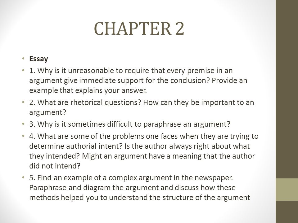 CHAPTER 2 Essay.