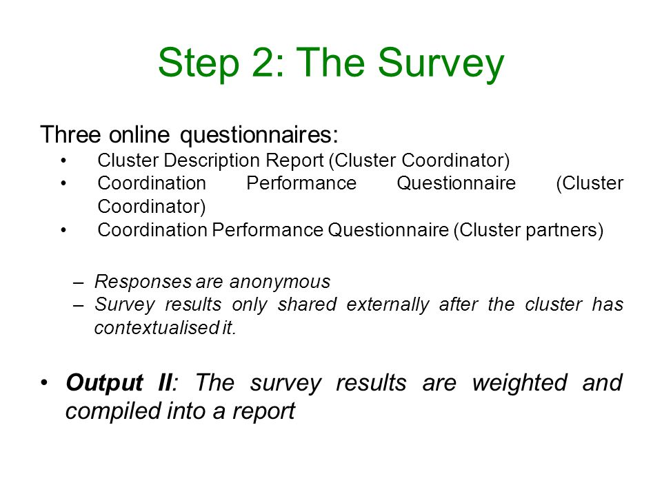 Step 2: The Survey Three online questionnaires: