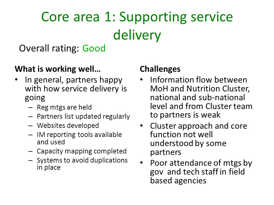 Core area 1: Supporting service delivery