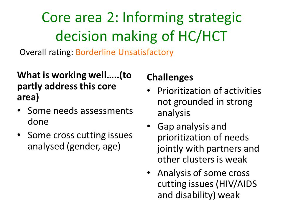 Core area 2: Informing strategic decision making of HC/HCT