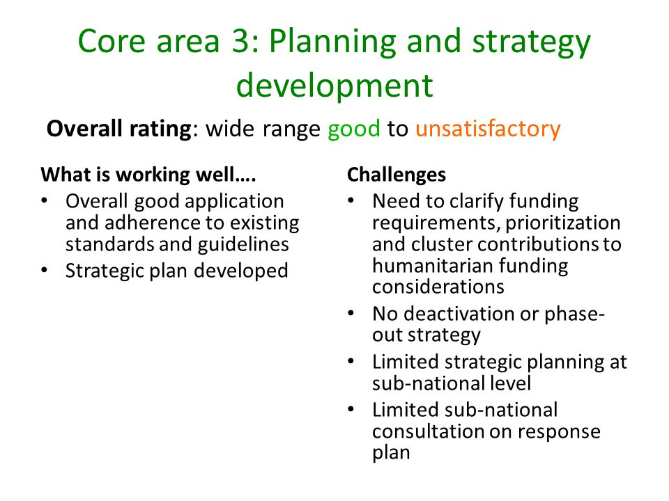 Core area 3: Planning and strategy development