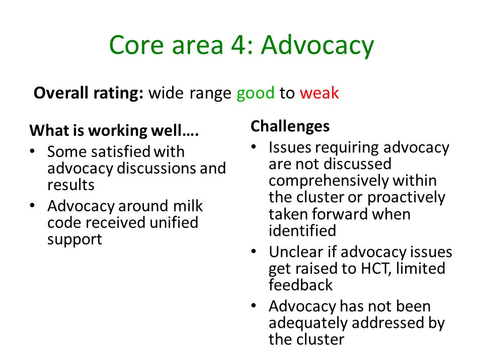 Core area 4: Advocacy Overall rating: wide range good to weak