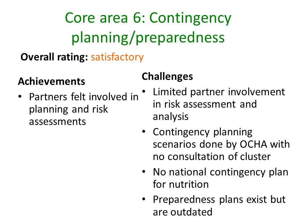 Core area 6: Contingency planning/preparedness