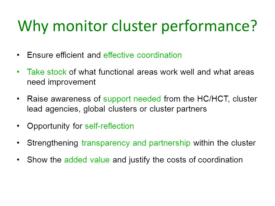 Why monitor cluster performance