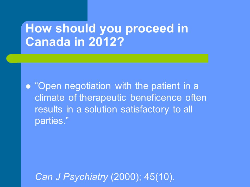 How should you proceed in Canada in 2012