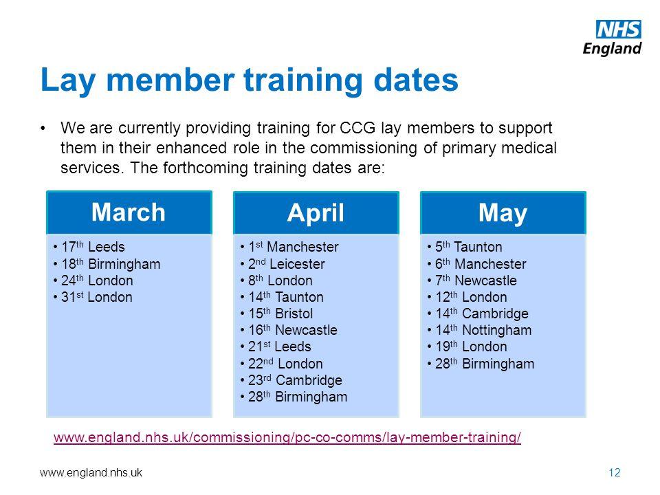 Lay member training dates
