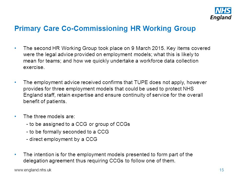 Primary Care Co-Commissioning HR Working Group