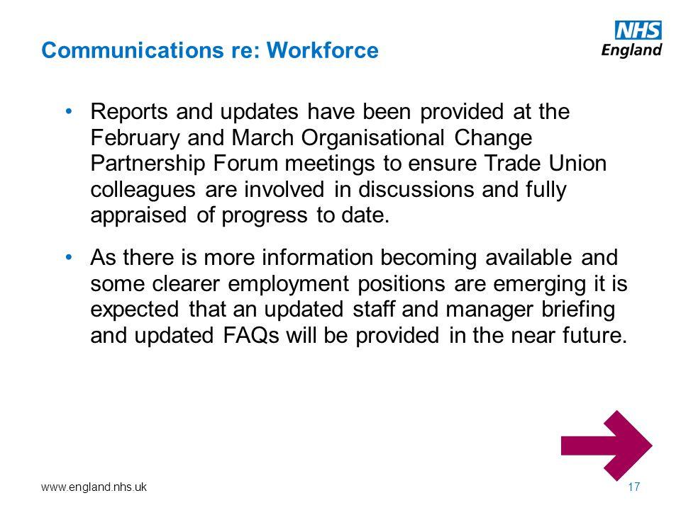 Communications re: Workforce