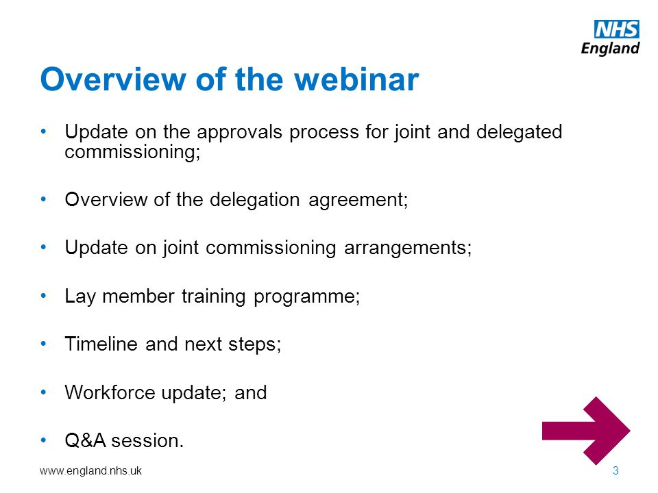 Overview of the webinar