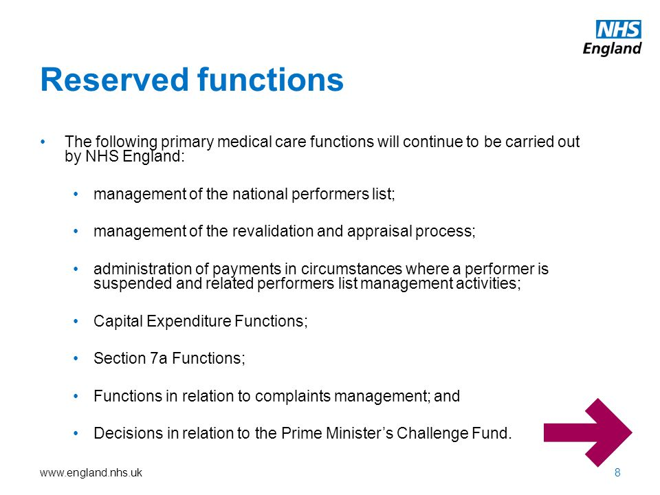 Reserved functions The following primary medical care functions will continue to be carried out by NHS England: