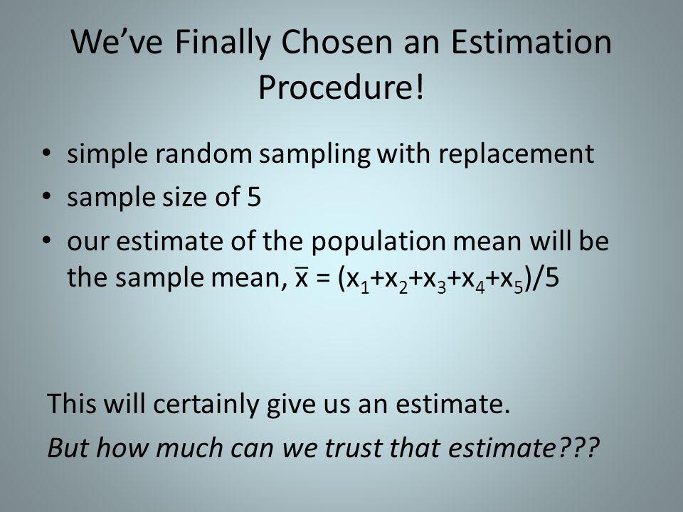 We've Finally Chosen an Estimation Procedure!