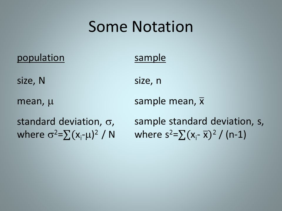 Some Notation population size, N mean,  standard deviation, , where 2=∑(xi-)2 / N