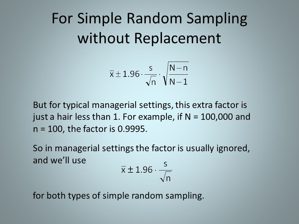 For Simple Random Sampling without Replacement