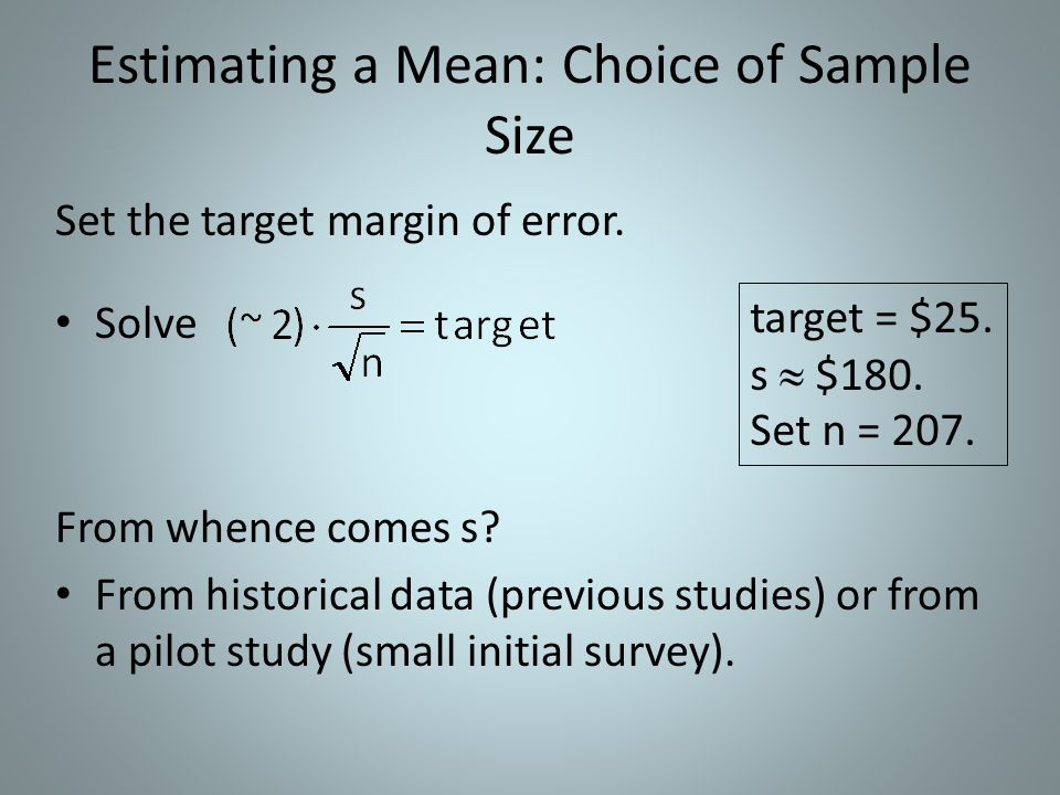 Estimating a Mean: Choice of Sample Size