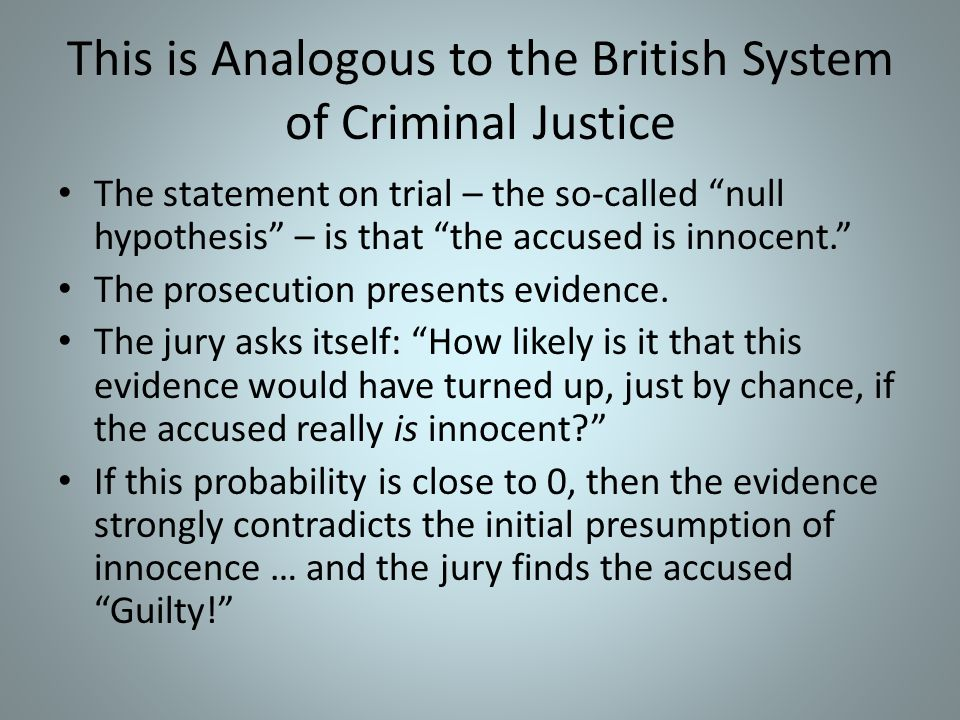 This is Analogous to the British System of Criminal Justice