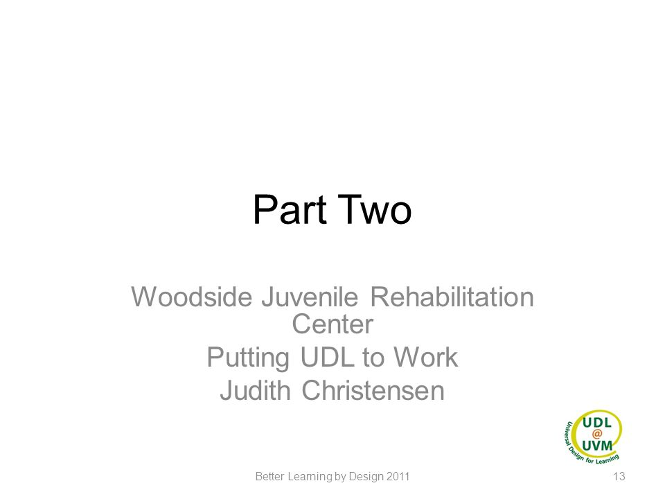 Part Two Woodside Juvenile Rehabilitation Center Putting UDL to Work