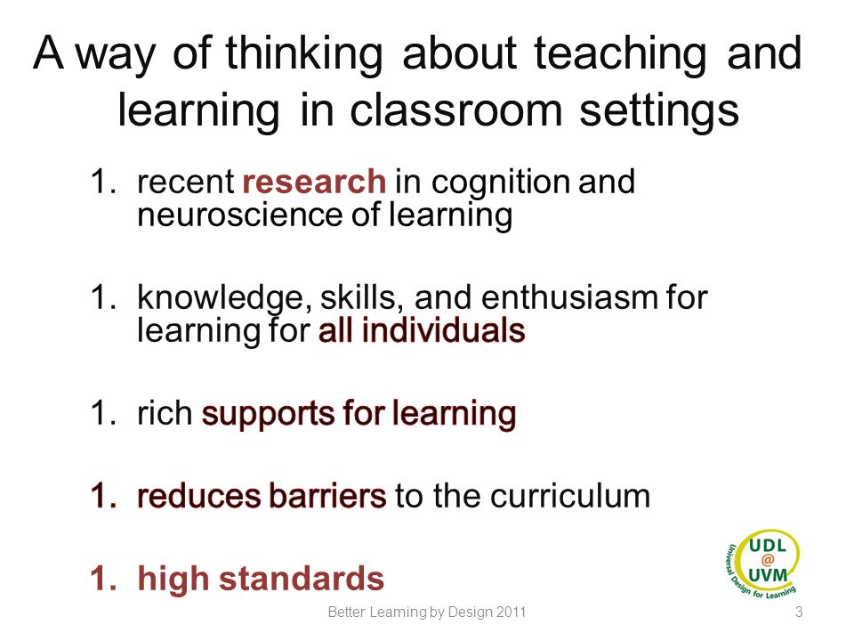 A way of thinking about teaching and learning in classroom settings