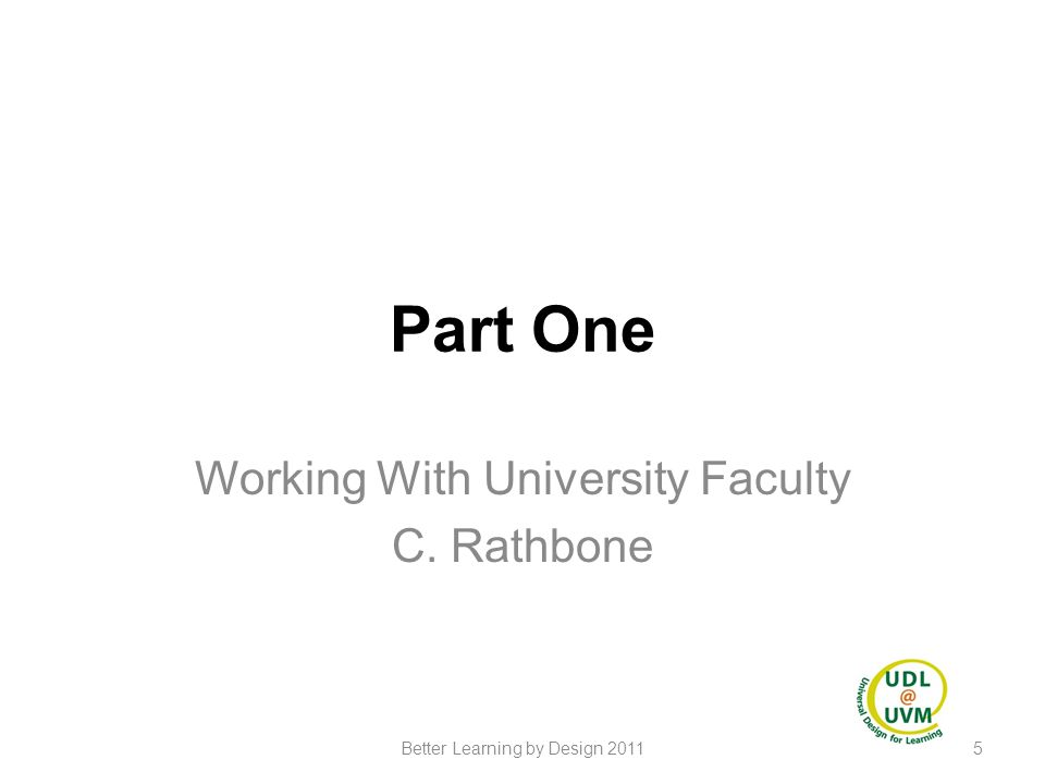 Working With University Faculty C. Rathbone