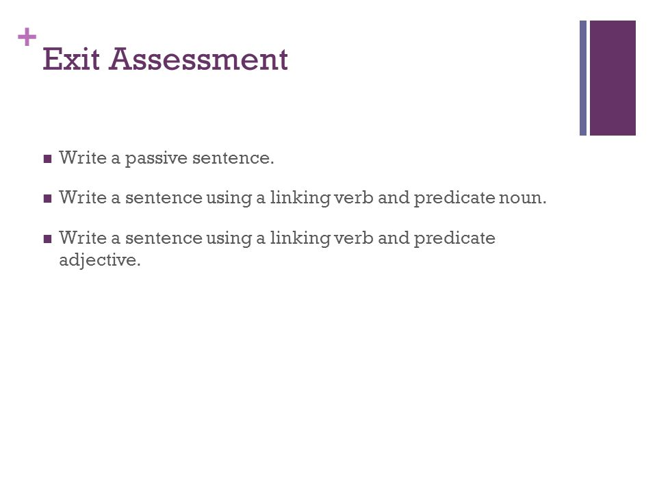 Exit Assessment Write a passive sentence.
