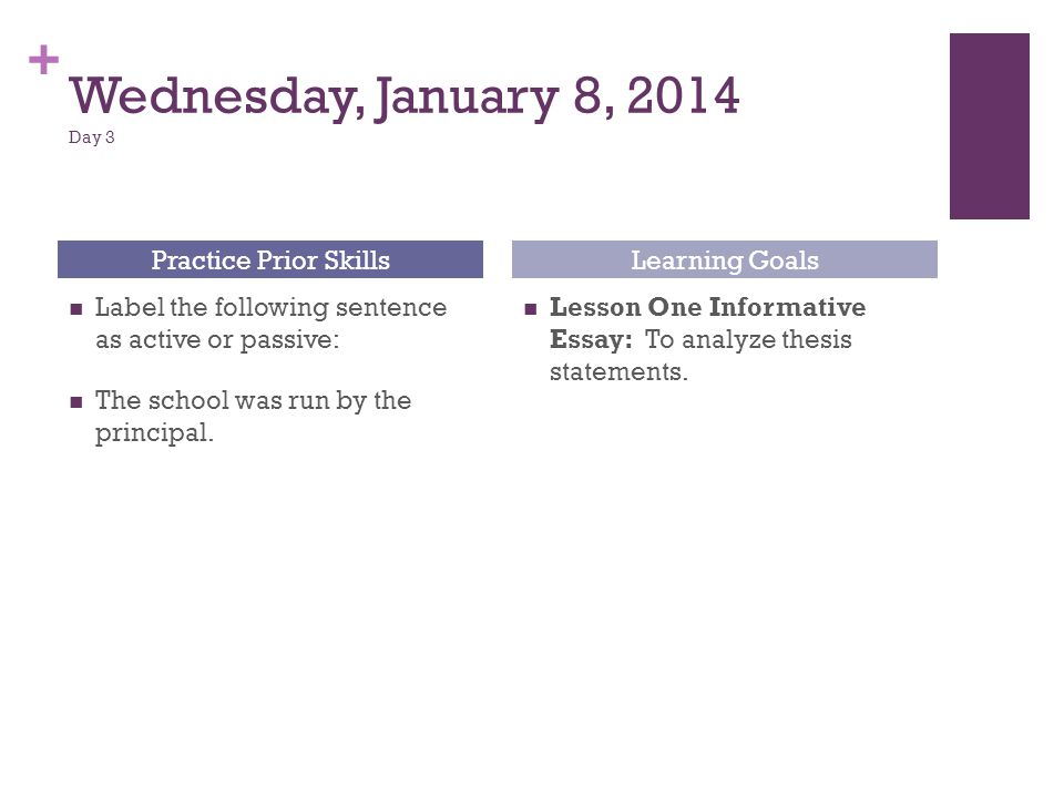 Wednesday, January 8, 2014 Day 3 Practice Prior Skills Learning Goals