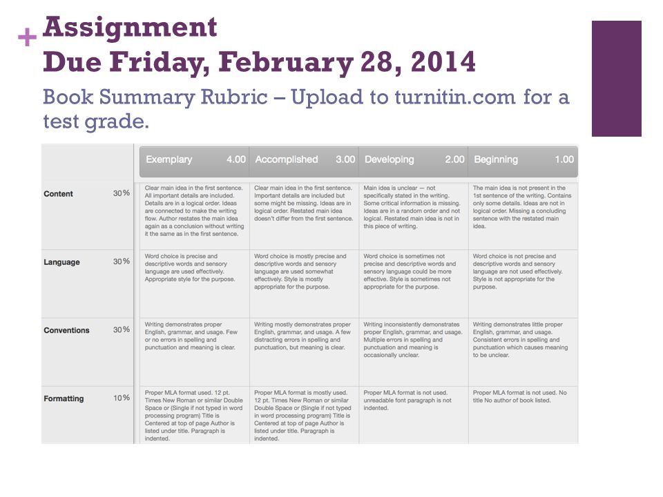 Assignment Due Friday, February 28, 2014