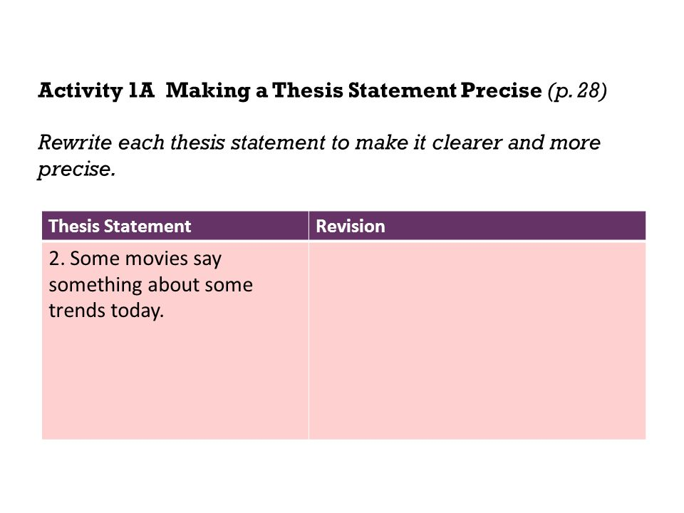 Activity 1A Making a Thesis Statement Precise (p. 28)