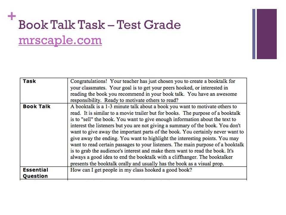 Book Talk Task – Test Grade mrscaple.com