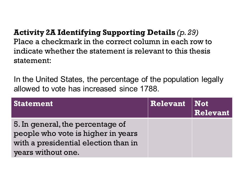 Activity 2A Identifying Supporting Details (p. 29)