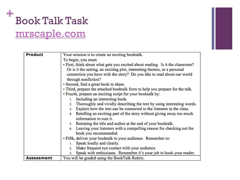 Book Talk Task mrscaple.com