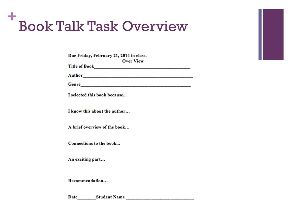 Book Talk Task Overview