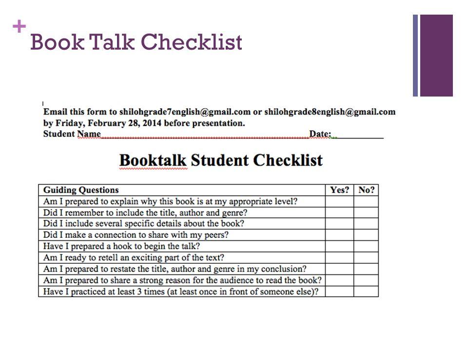 Book Talk Checklist